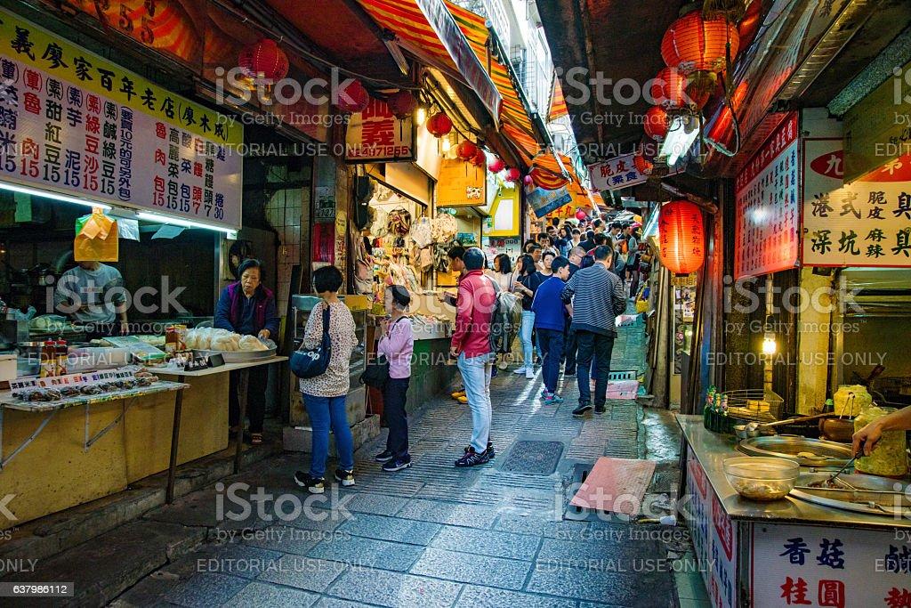 Jiufen market with tourists stock photo
