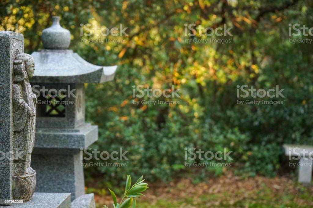 Jizo statues and lanterns stock photo