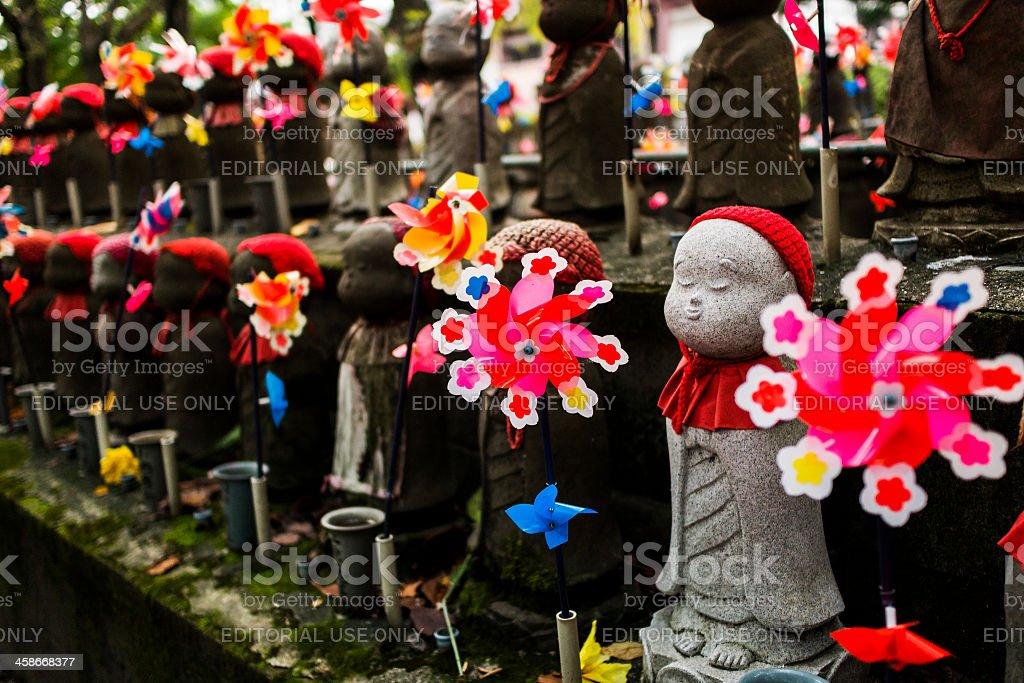 Jizo statues in Zojoji temple Tokyo Japan stock photo