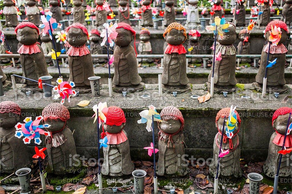 Jizo statues in Zojo-Ji temple Tokyo Japan stock photo