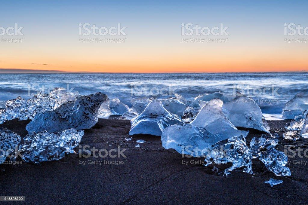 Jökulsárlón Icebergs at Sunrise stock photo