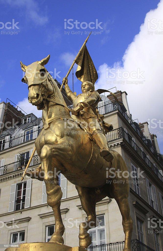 Joan of Arc sculpture in Paris stock photo