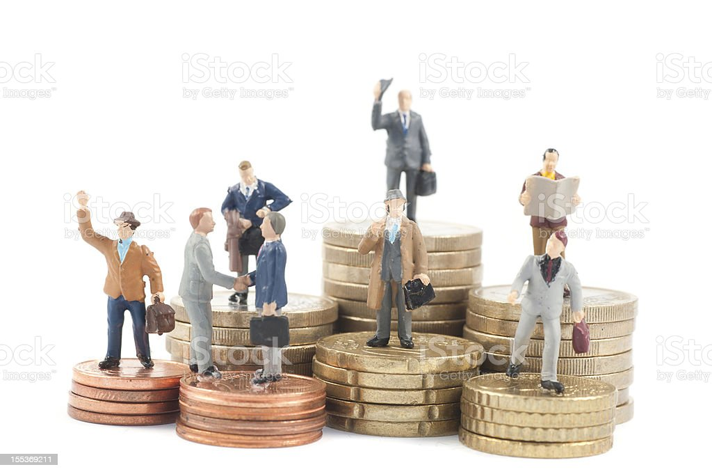 job and money. Worker employees with different wage stock photo