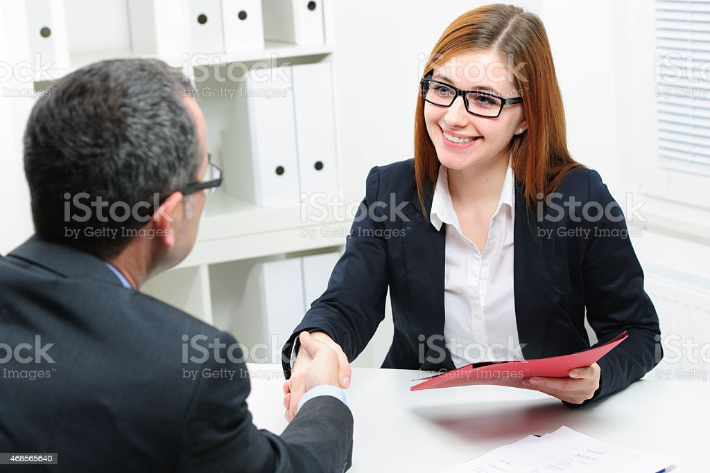 Job applicant having an interview stock photo