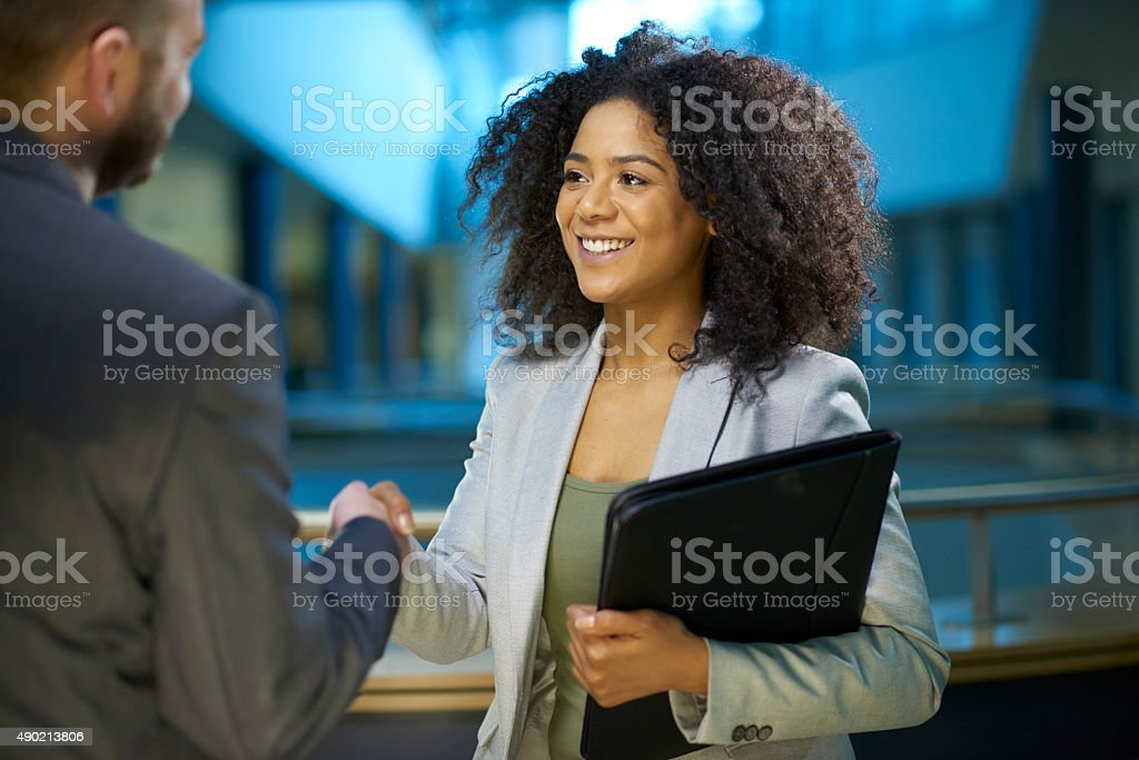 job applicant shaking hands . stock photo
