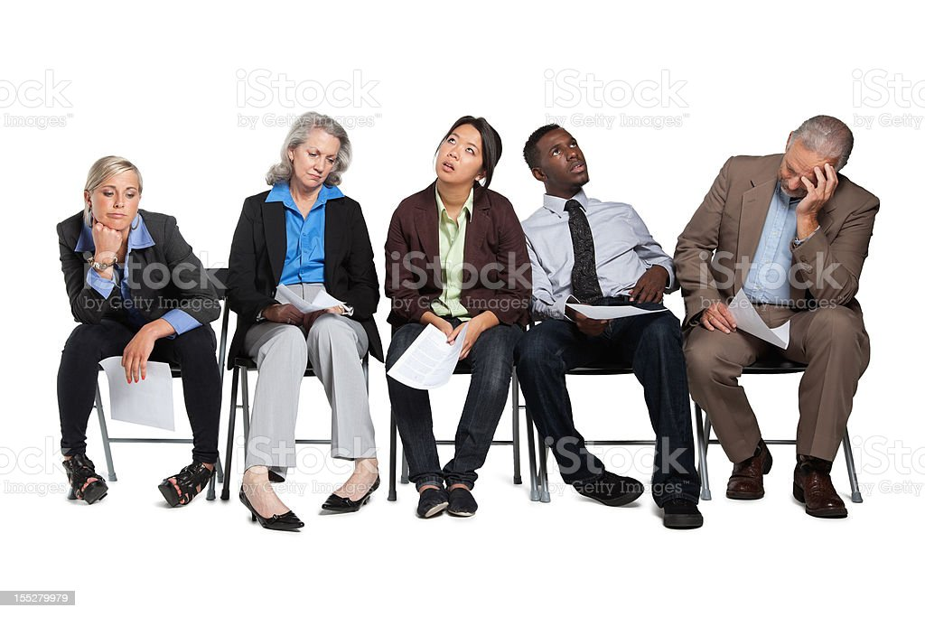 Job applicants waiting in line royalty-free stock photo