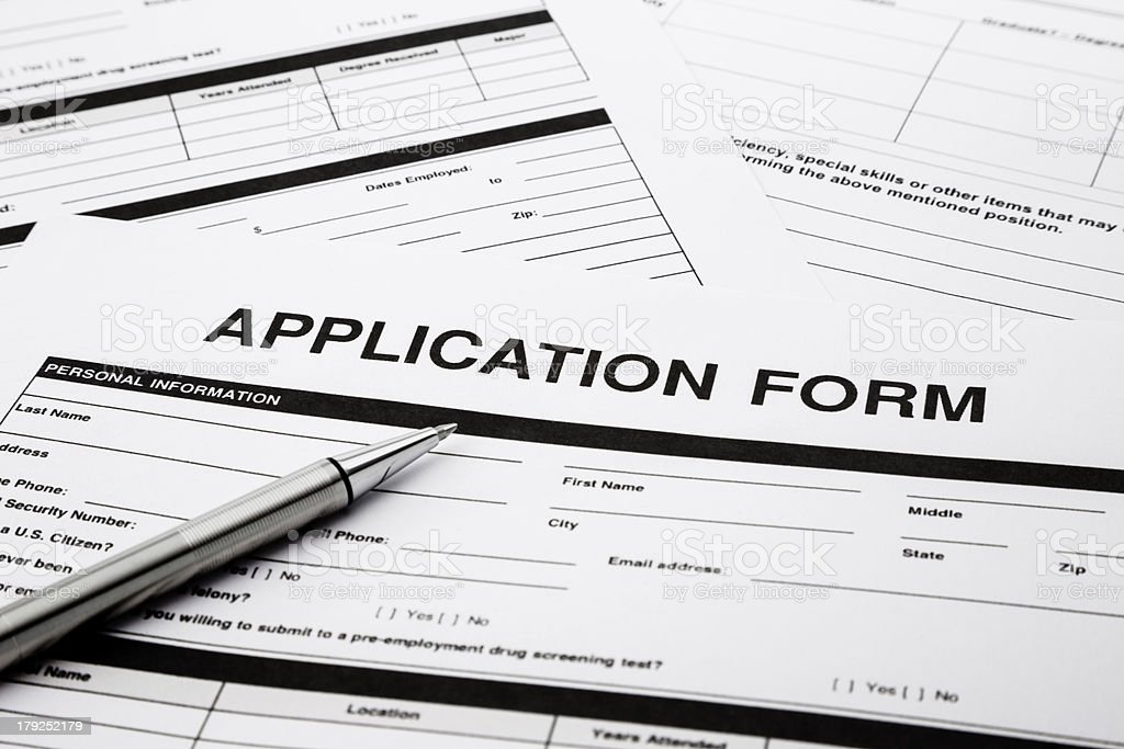 Job application form royalty-free stock photo