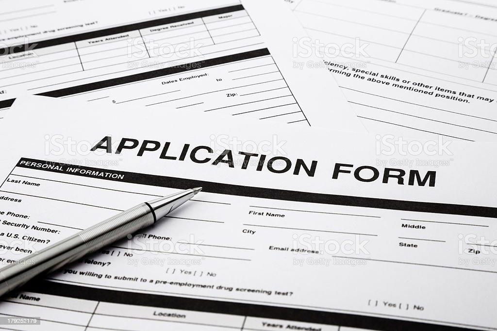 Job application form stock photo