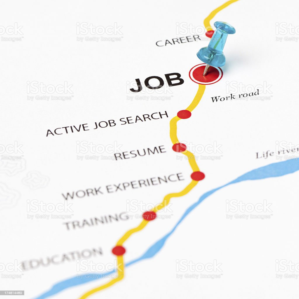 Job as target in the work road stock photo