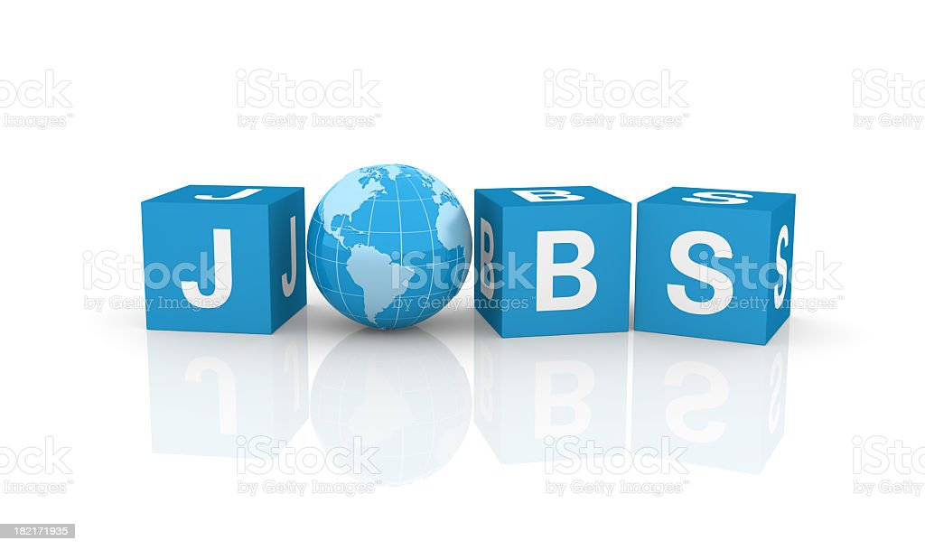Job Cubes with Earth Globe royalty-free stock photo