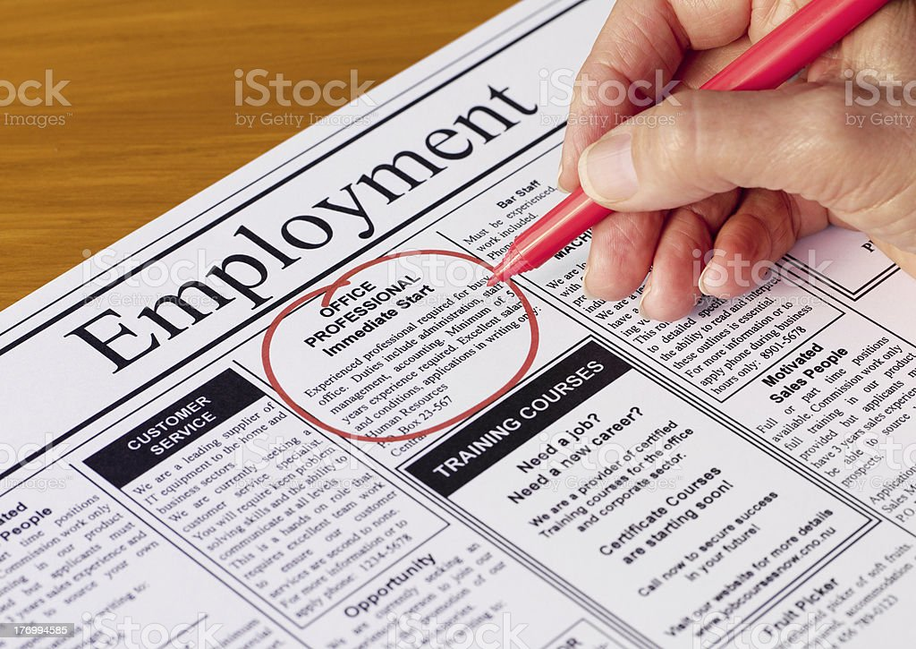 Job in the Employment Section of Newspaper stock photo