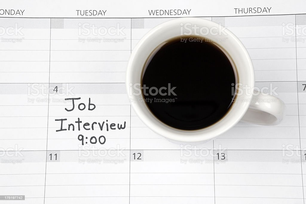 Job Interview Appointment Reminder on Calendar royalty-free stock photo