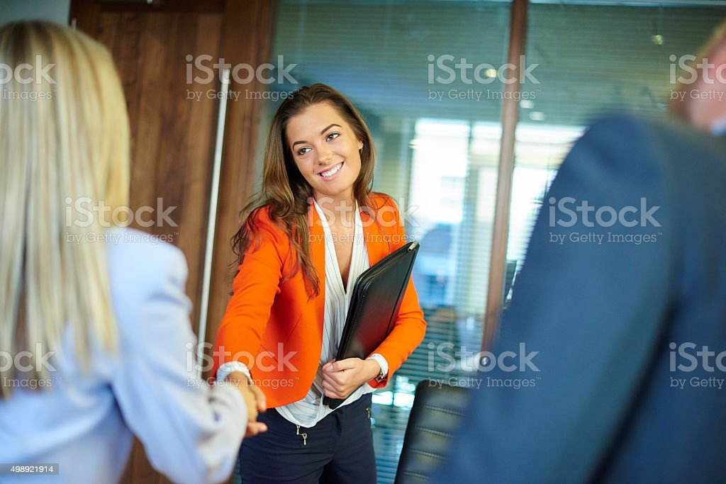 job interview first impressions stock photo