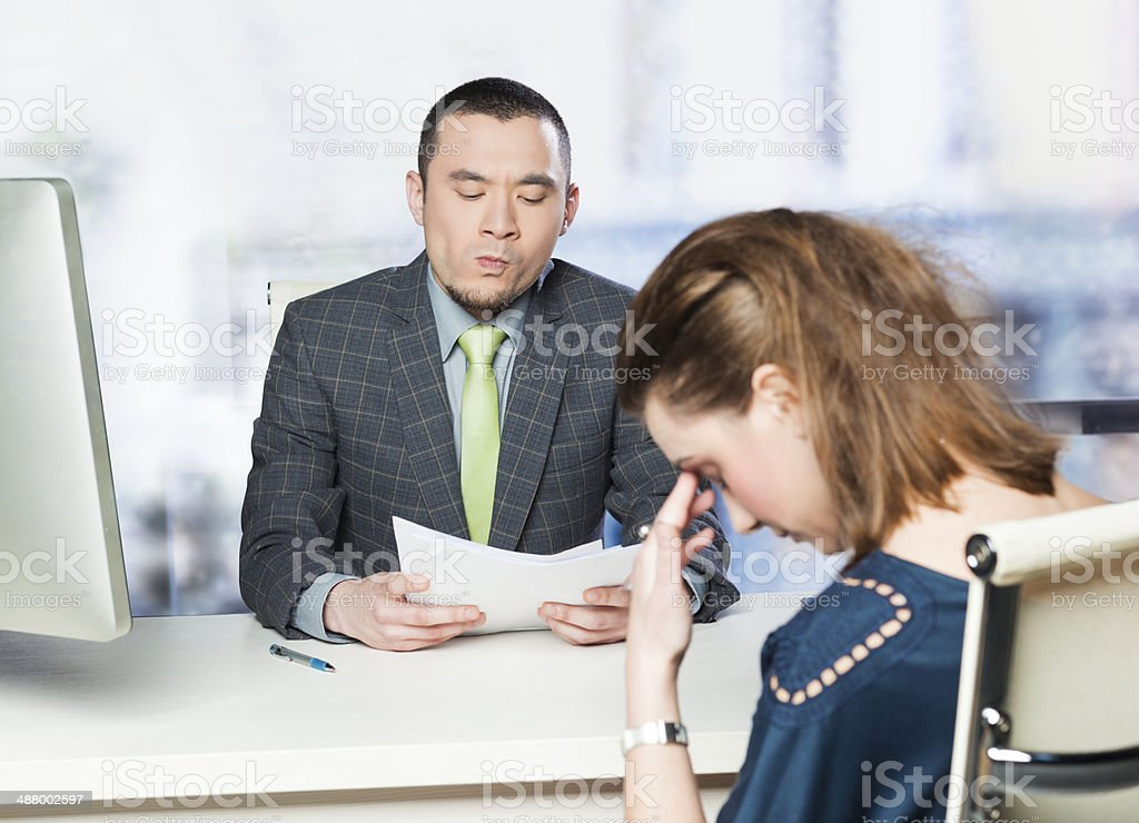 Job interview gone wrong stock photo