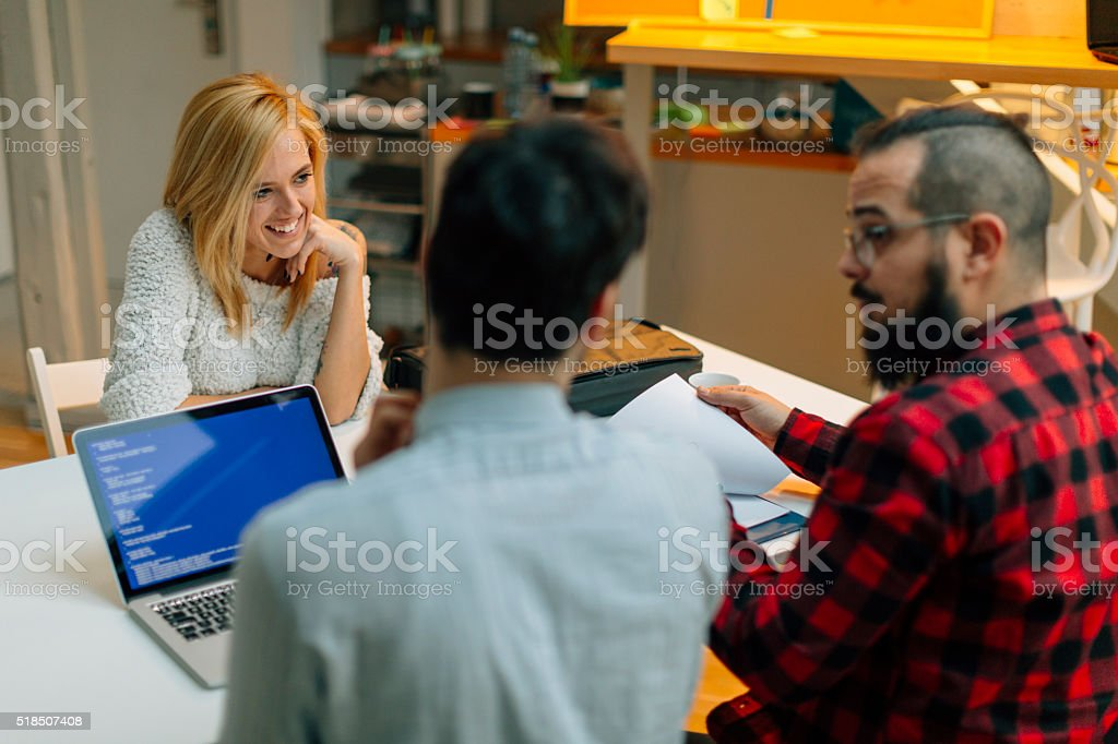 Job interview in an startup company. stock photo