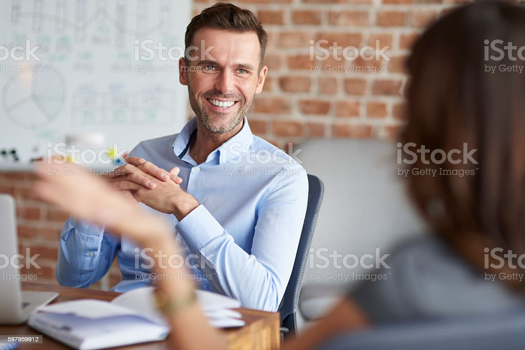 Job interview in the company stock photo