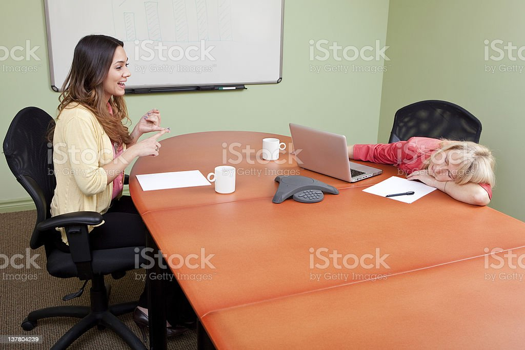 Job Interview with a chatterbox stock photo