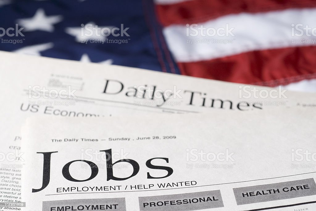 Job search on American newspapers royalty-free stock photo