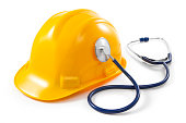 Job Security Concept with Hart Hat and Stethoscope