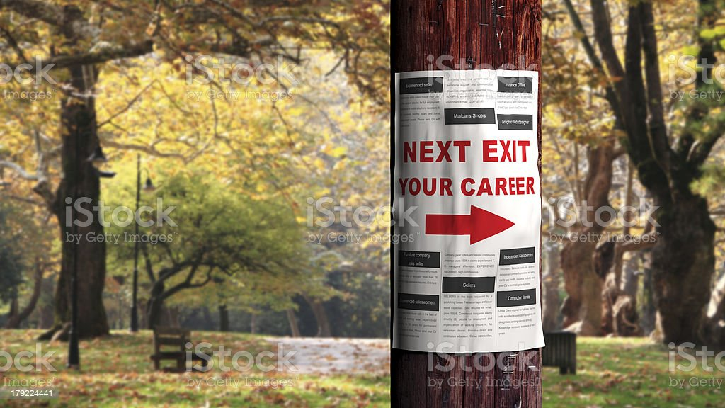 Job seeking concept, newspaper page on the tree royalty-free stock photo