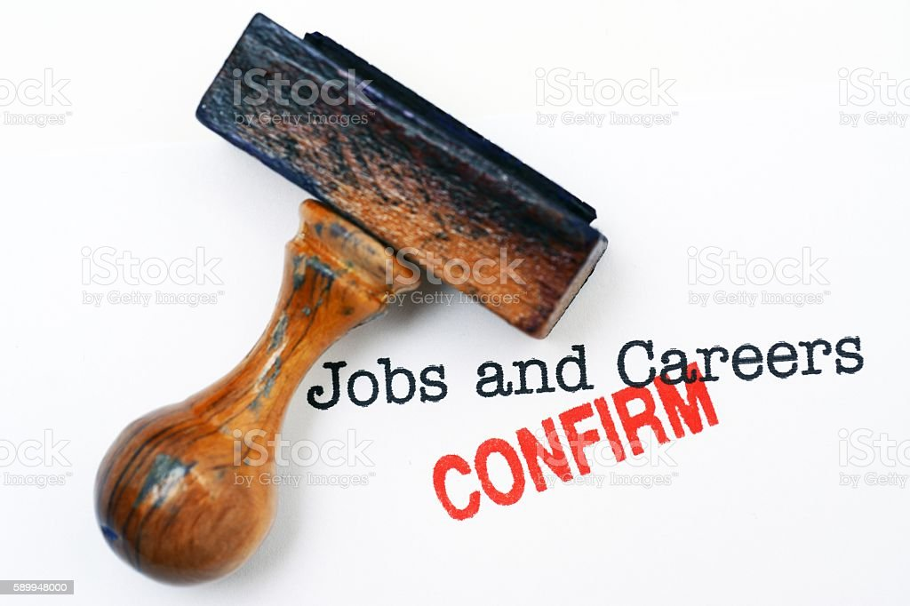 Jobs and careers - confirm stock photo