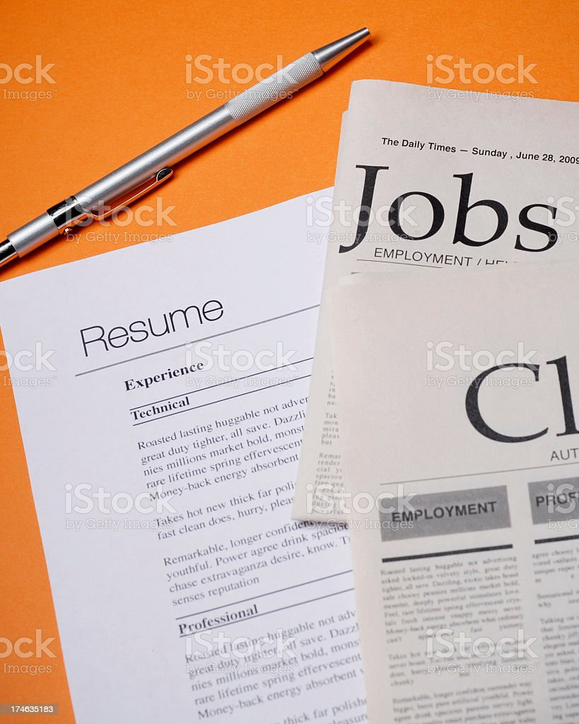 jobs and resume with pen royalty-free stock photo