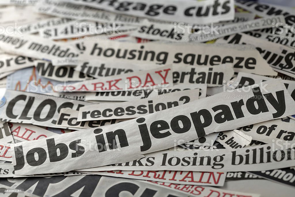 jobs in jeopardy royalty-free stock photo