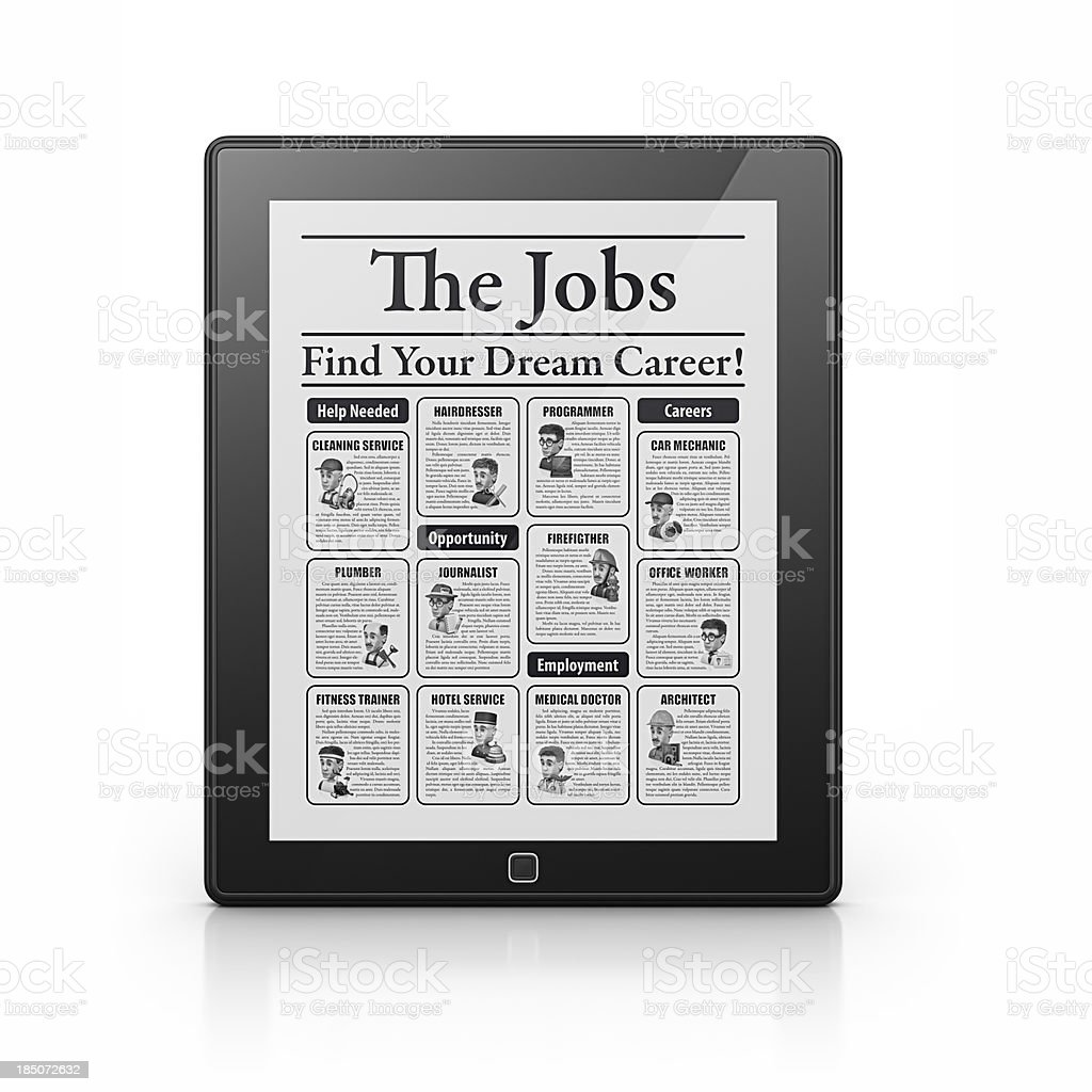 jobs newspaper in tablet royalty-free stock photo