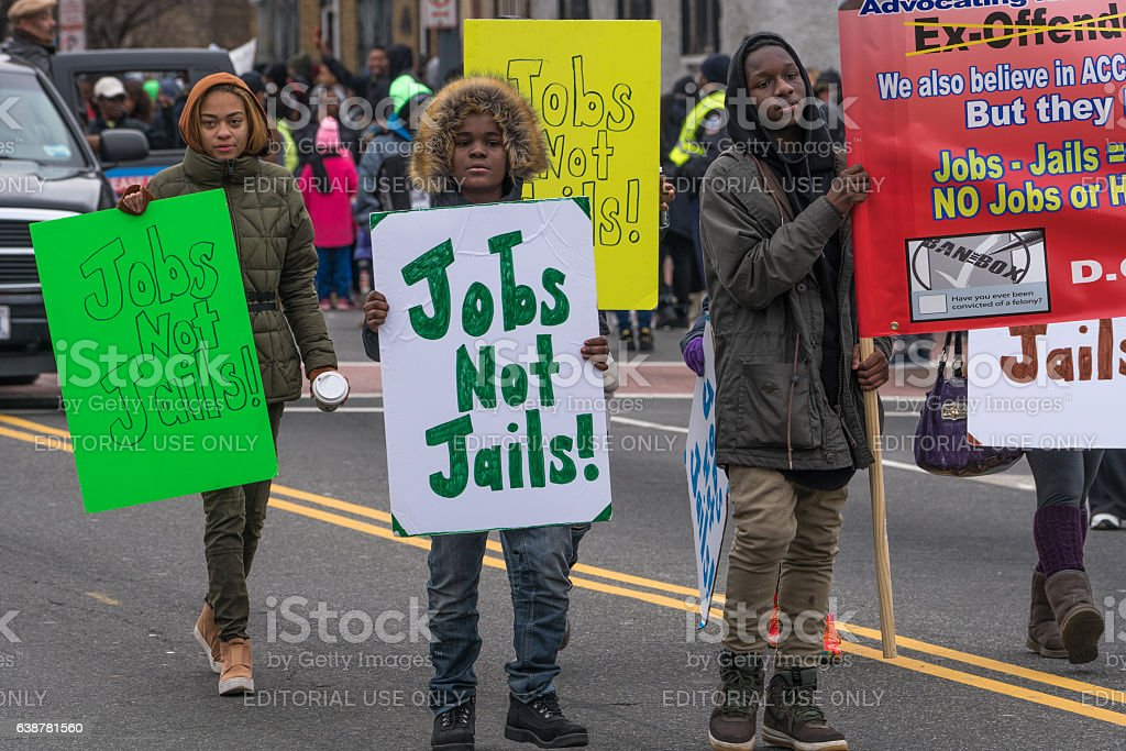 Jobs Not Jails stock photo