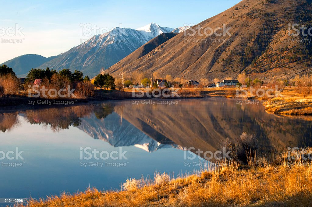 Job's Peak Reflection in Douglas County, Nevada stock photo