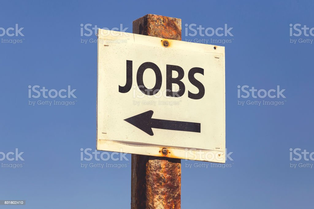 Jobs word and arrow signpost 2 stock photo