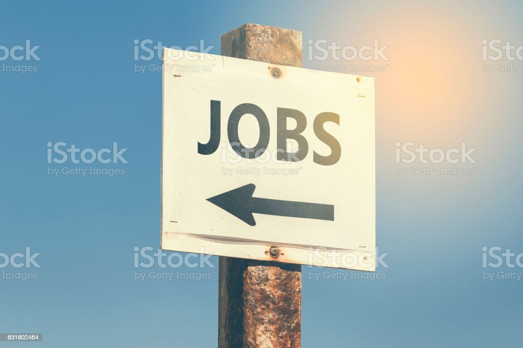 Jobs word and arrow signpost 3 stock photo