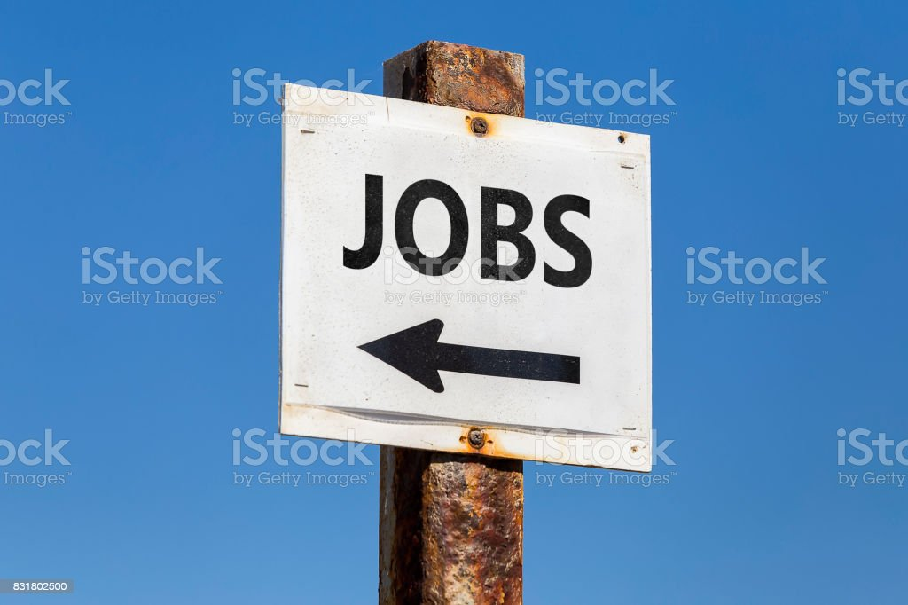 Jobs word and arrow signpost stock photo