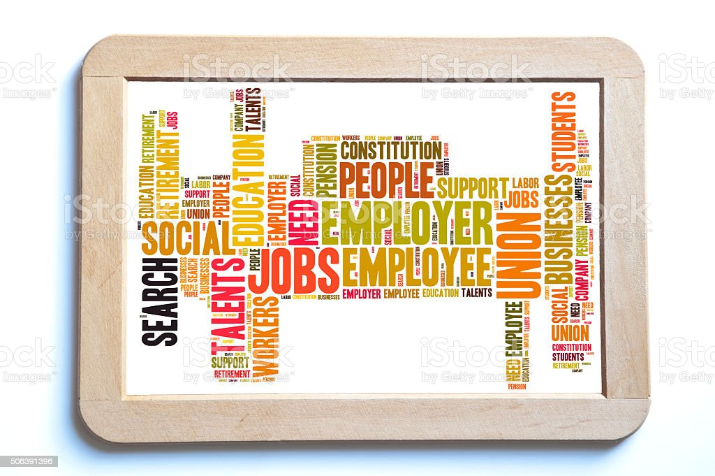 jobs word cloud stock photo