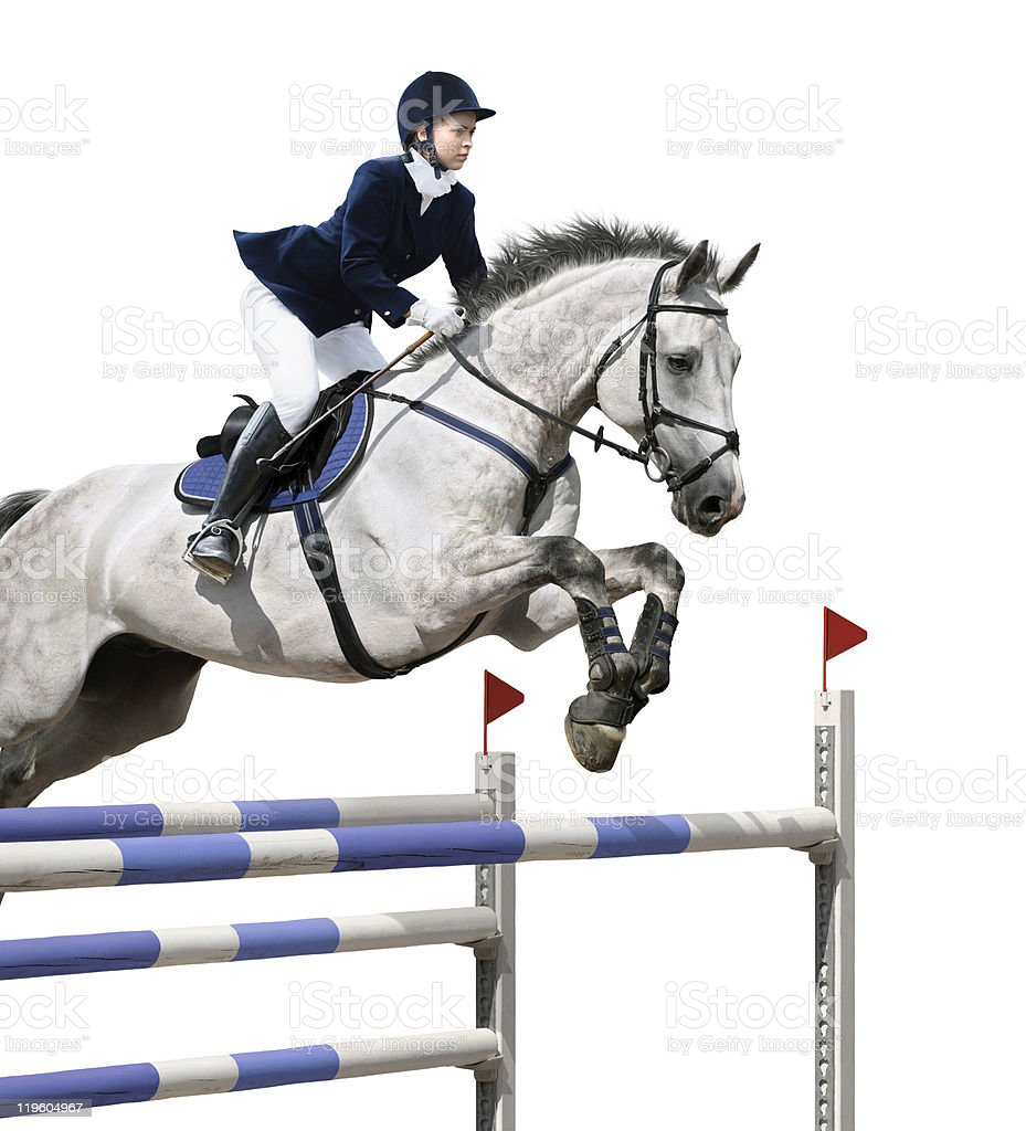 Jockey on a horse jumping in an obstacle course royalty-free stock photo