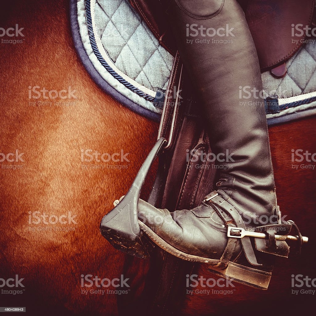 jockey riding boot, horses saddle and stirrup stock photo