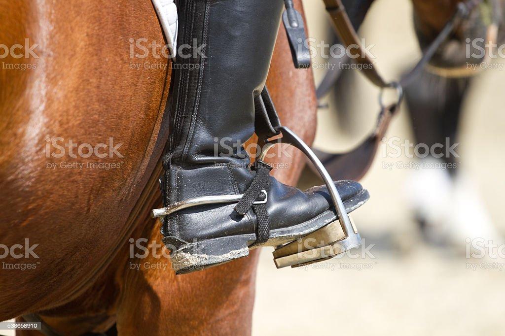 Jockey riding boot stock photo