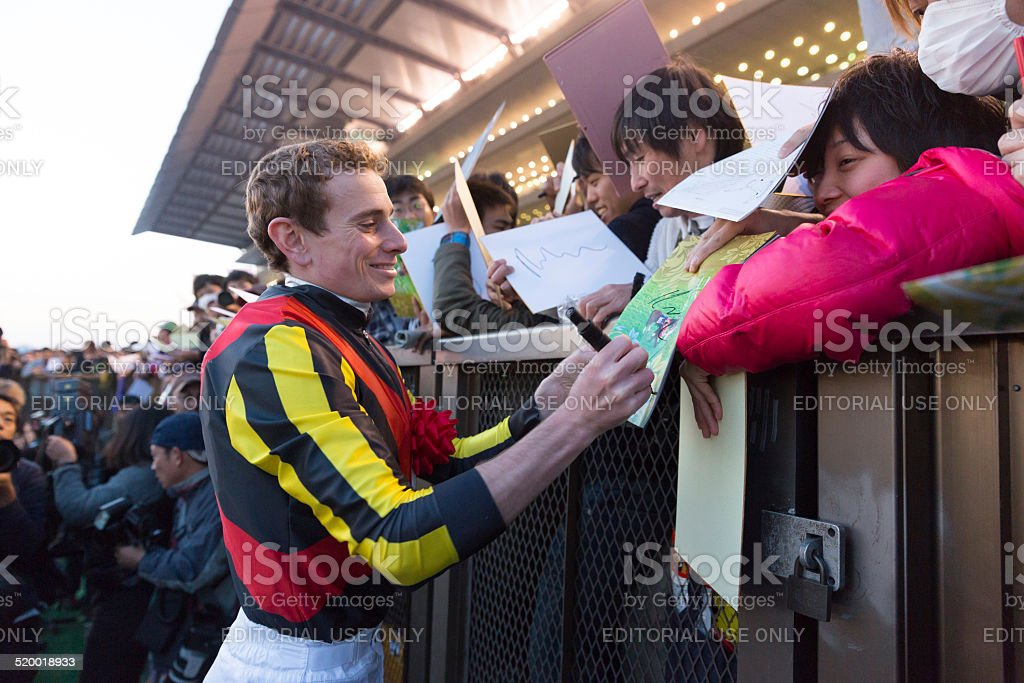 Jockey Ryan Moore in Japan stock photo