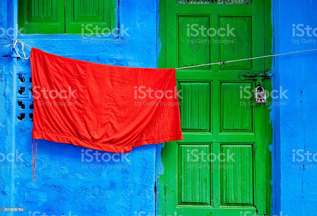 Jodhpur in green, red and blue stock photo