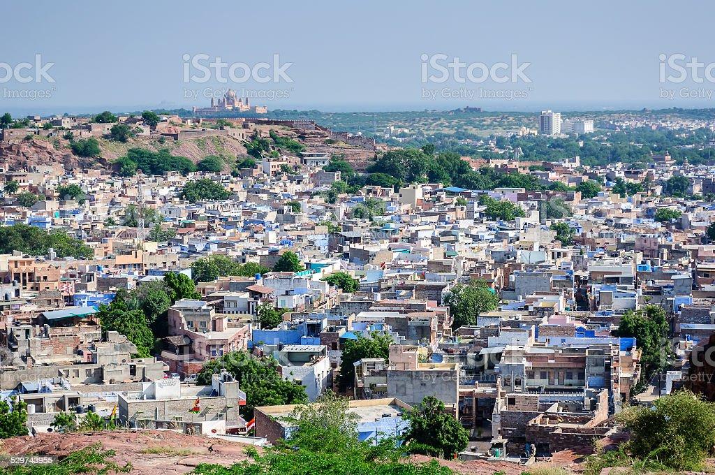 Jodhpur, the blue city as seen from Jaswant Thada stock photo