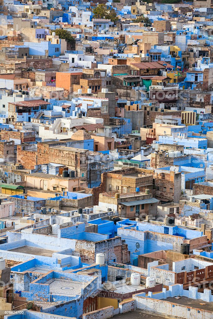 Jodhpur, the Blue City seen from Mehrangarh Fort, India stock photo