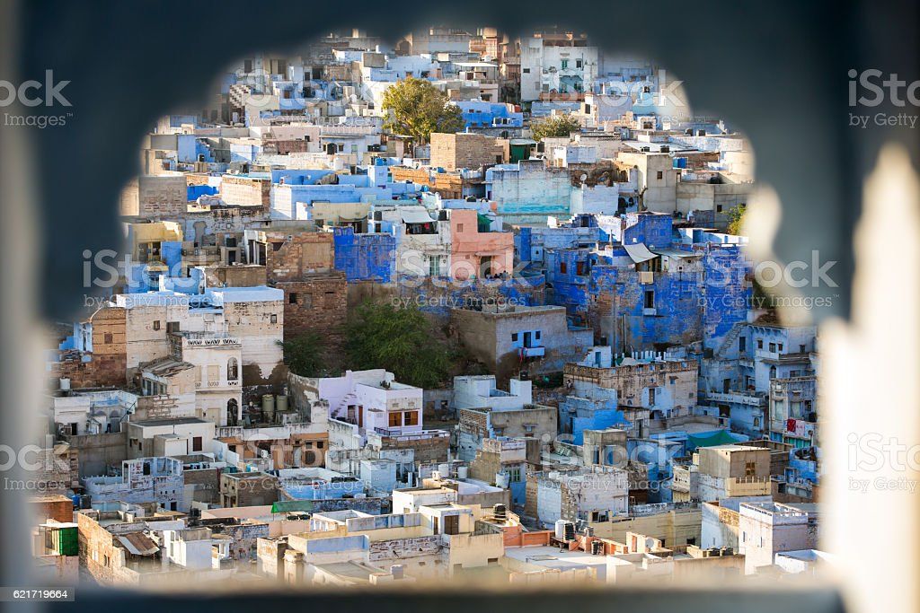Jodhpur, the Blue City seen from Mehrangarh Fort stock photo