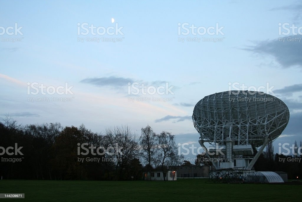 Jodrell Bank, Medium Radio Telescope and Moon stock photo
