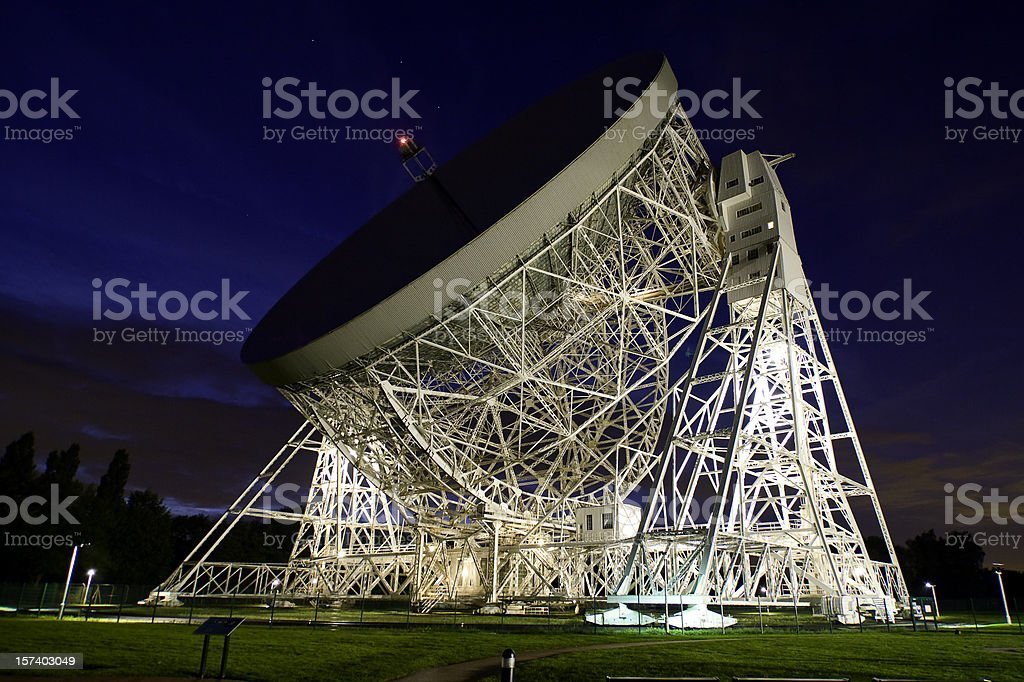 Jodrell Bank Observatory at Night royalty-free stock photo