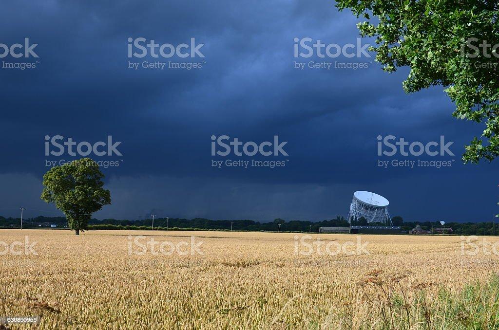 Jodrell Bank Radio Telescope Cheshire England stock photo