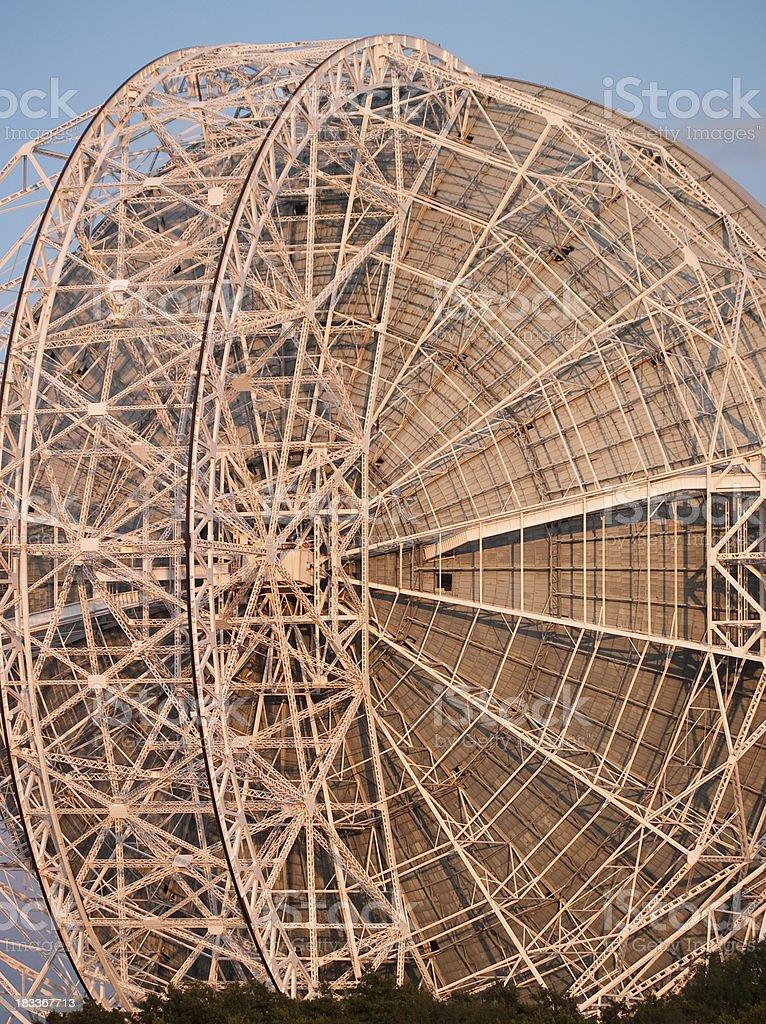 Jodrell Bank Radio Telescope rear superstructure detail stock photo