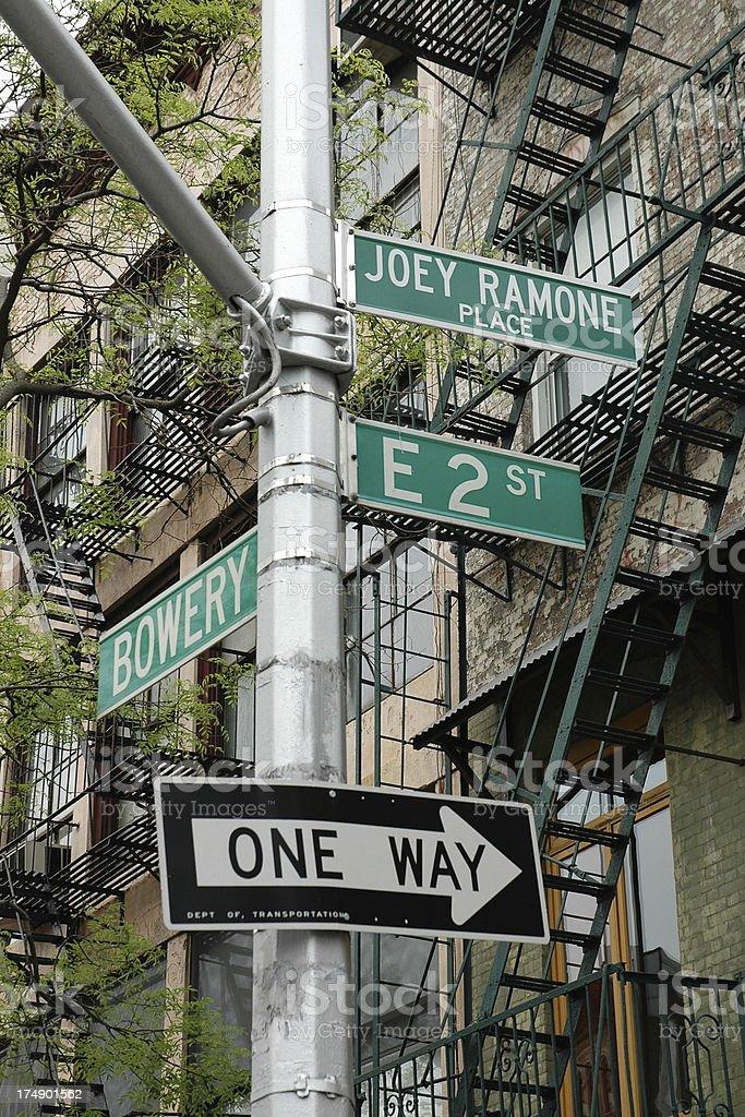 Joey Ramone Place street sign. stock photo