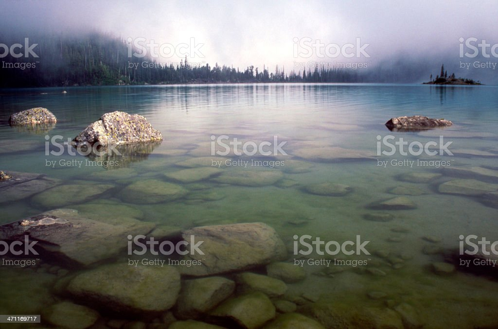 Joffre lake in the Fog royalty-free stock photo