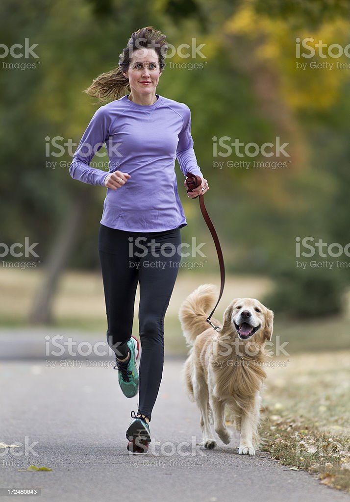 Jogger and Golden Retriever royalty-free stock photo