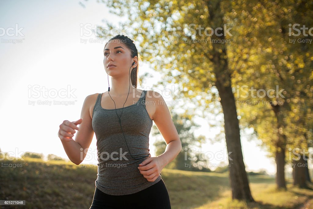 Jogging and wellbeing stock photo